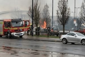 fire crew tackles car fire at fratton mcdonalds