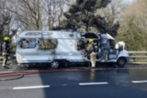 major delays on the m27 motorway after camper van fire