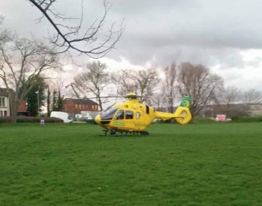 man flown to hospital after falling from roof in portsmouth