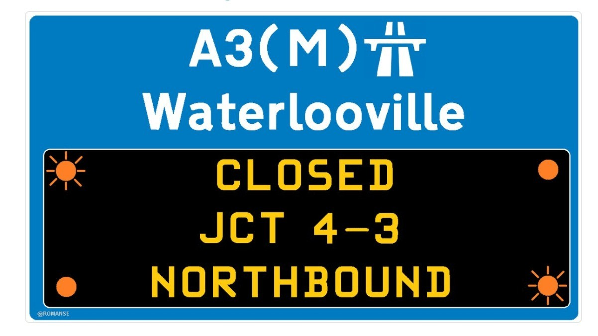a3 northbound closed following collision