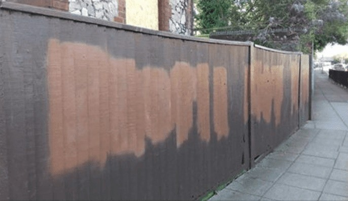 city council vandalise their own fence