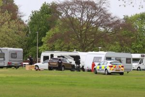 travellers have set up camp in prospect park in reading