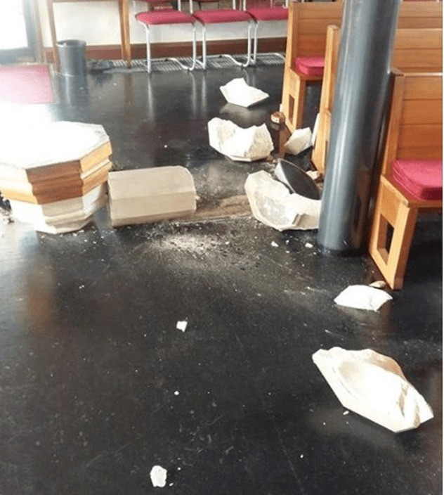 vandals smash up waterlooville church