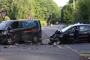two vehicle head on collision closes bramley village in surrey