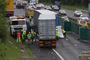 fatal collision involving three hgv and a car on m3 motorway in hampshire