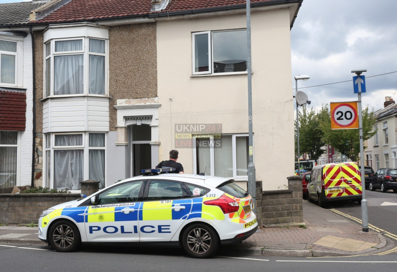 House Sealed Off In Portsmouth  By Police Investigating A Serious Assault