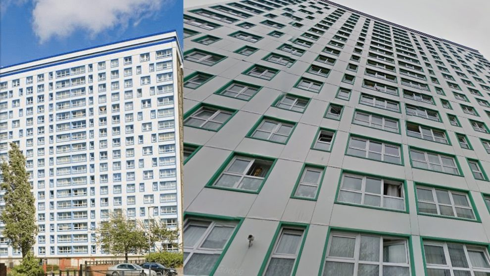 two portsmouth tower blocks stripped of cladding following tests
