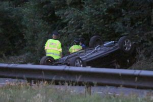 car hits embankment and flips on a331 blackwater bypass near aldershot