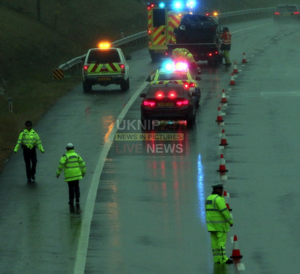 car overturns on the m27 motorway causing traffic chaos