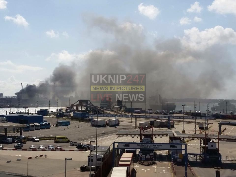 Fire Breaks Out At Portsmouth Dock Yard