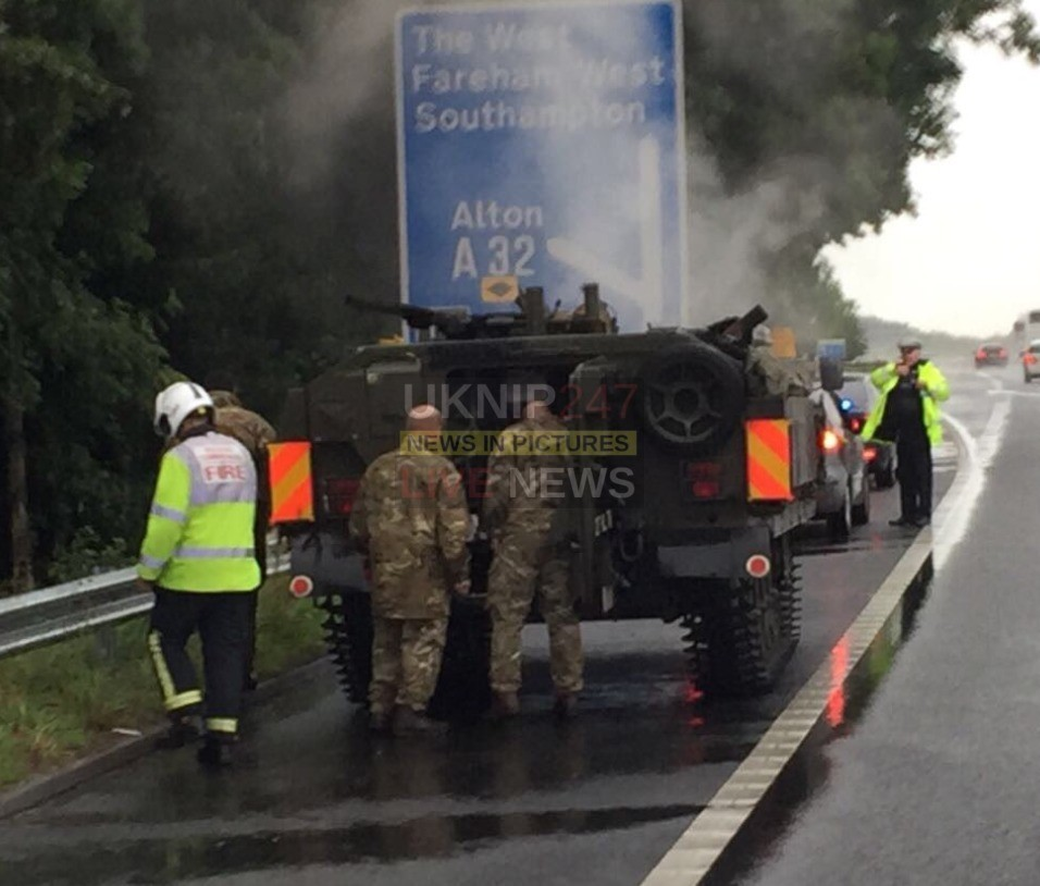 fire crews called to an army tank on fire on the m27 motorway