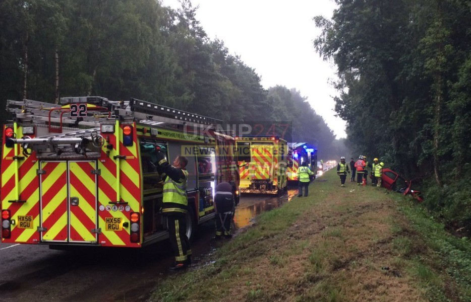 fire crews free trapped driver after vehicle leaves the road in boarhunt