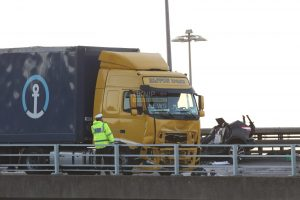 lorry driver ploughs into car after driving on the wrong side of the a2 closing port of dover