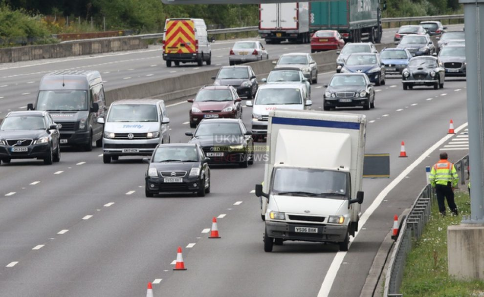 one lane closed on m25 by clacket lane closed