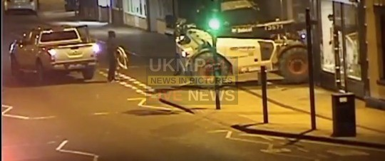 thieves rip out cash machine with a bobcat in ashby