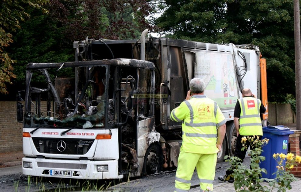 what aload of rubbish in faversham after dustcart catches fire causing jams back to the m2 motorway