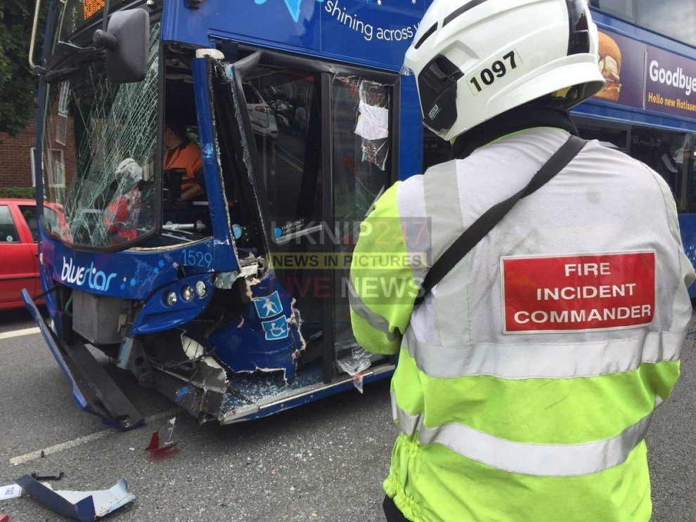 car in collision with a blue star bus in shirley southampton
