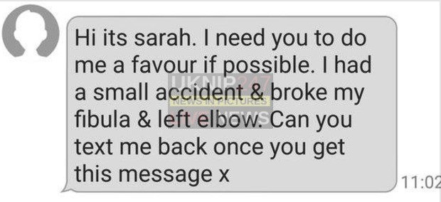 dont get caught out by sarah text message