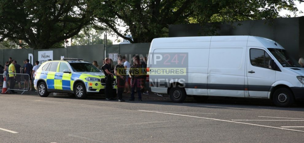 suspect white van searched by armed police outside victorious in portsmouth