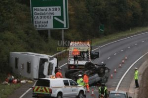 a3 traffic chaos after 4x4 and a caravan overturn near milfordsurrey