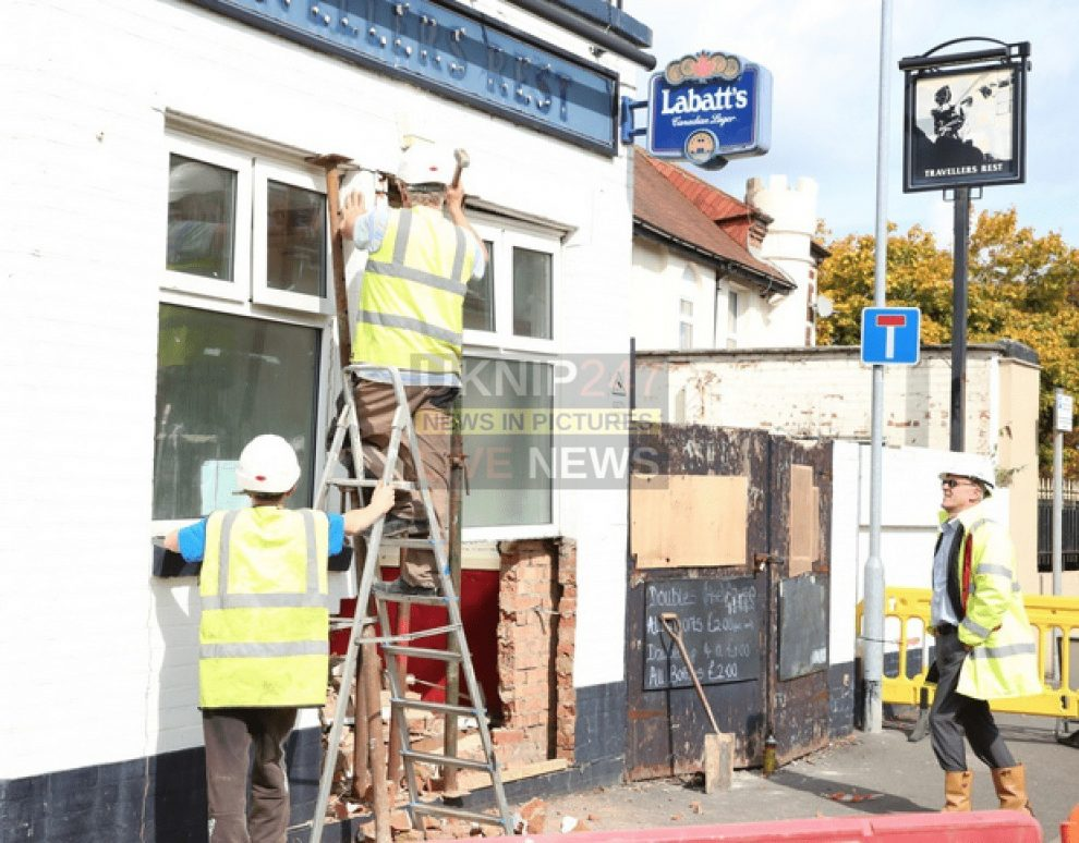 distressed student drives car into disused pub in portsmouth