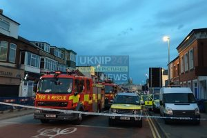 emergency services called to gas explosion in blackpool pregnant woman remains trapped
