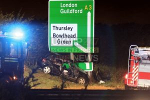 a3 hindhead tunnel closed after car leaves road and ploughs into road sign