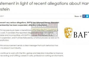 bafta has informed harvey weinstein that his membership has been suspended