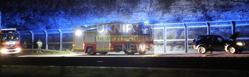 fire crews called to car fire on the m3 motorway near winchester