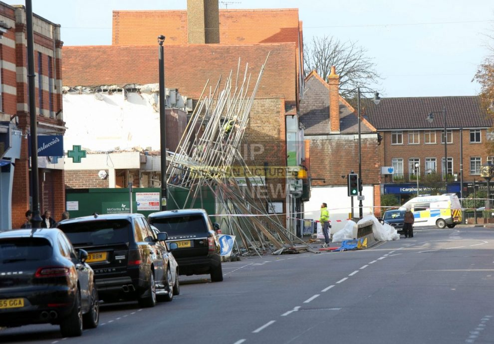 lucky escape for cobham shoppers as storm brian rips down scaffolding on the high street
