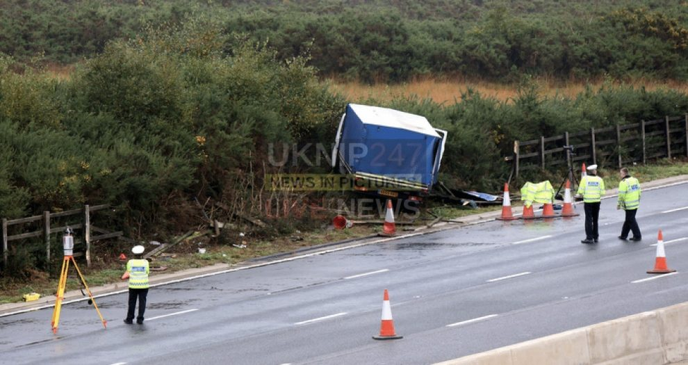 m3 closed northbound at bagshot after lorry leaves carriageway