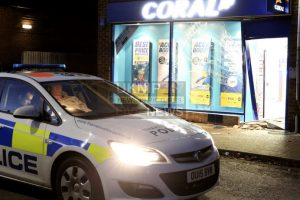 police man hunt launched after coral bookmaker in sandhurst is ram raided