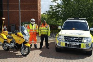 rapid assistance motorcycles carrying emergency fuel to combat breakdowns on uk motorways