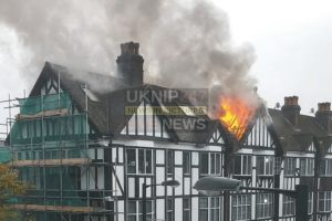 seventy firefighters battle purley building blaze