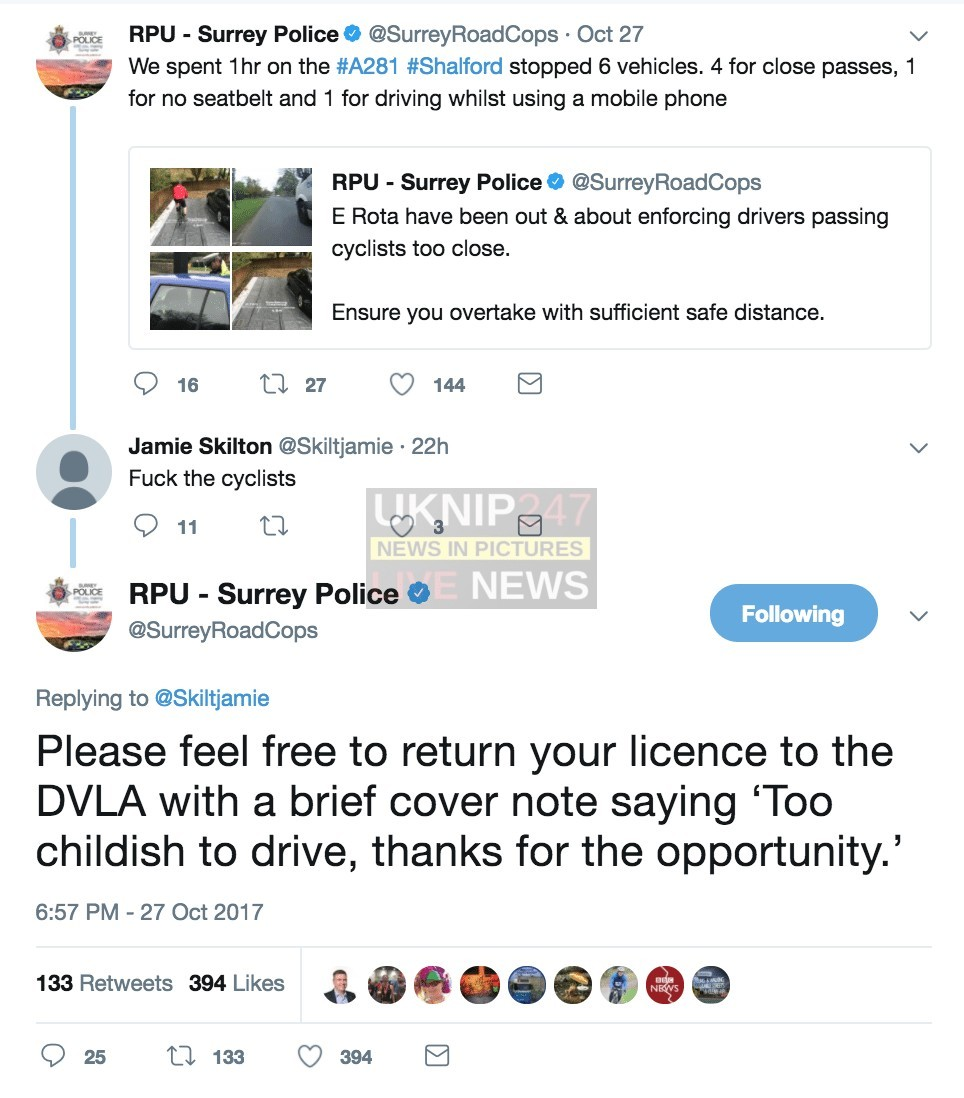surreyroadcops policing twitter account gives as good as it gets when motorists question its approach to cycling