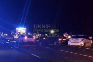 updatedpolice close junction 11 on the m27 motorway following serious collision involving six vehicles