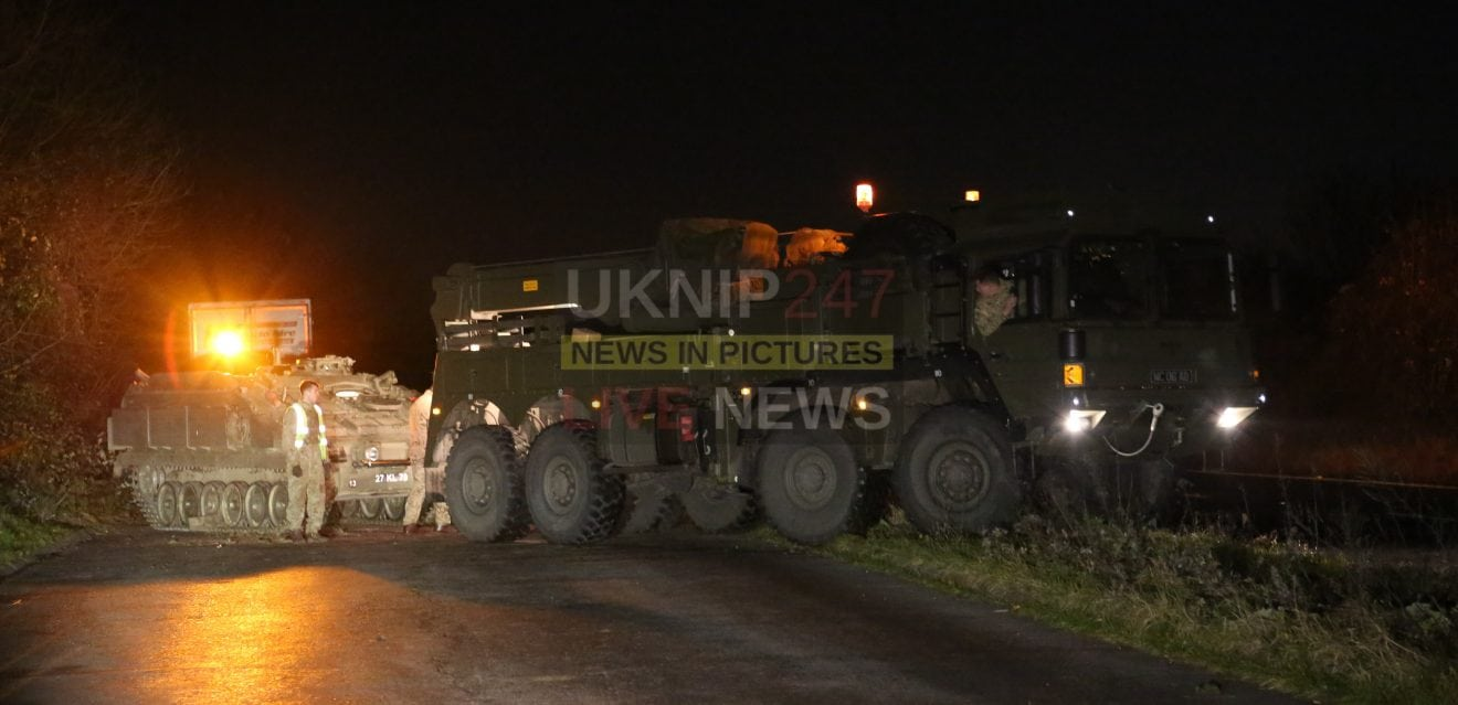 Army Stormer Vehicle Skids Off The A3 Near Clanfield After Hitting Black Ice