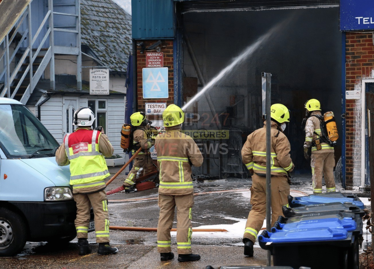 Fire Rips Through Car Workshop In Byfleet After Van's Fuel Line Explodes