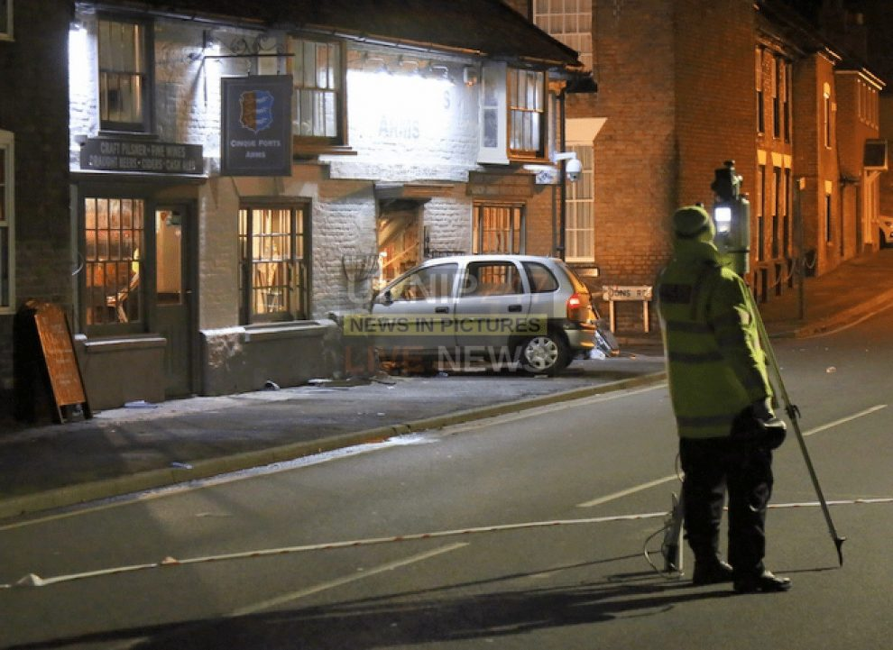 four left hospitalised after man drives car into grade ii listed cinque port arms pub in kent