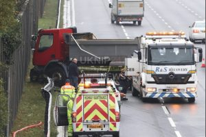 hgv ploughs into crash barriers closing two lanes of the m3 smart motorway near farnborough
