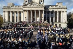 thousands of people from across the city stood in portsmouths guildhall square to remember