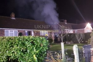 three fire crews called to a garage blaze in kingsclere