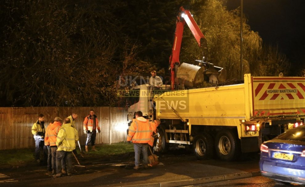 traffic chaos after tractor and trailer spills 20 tonnes of manure in cherstey