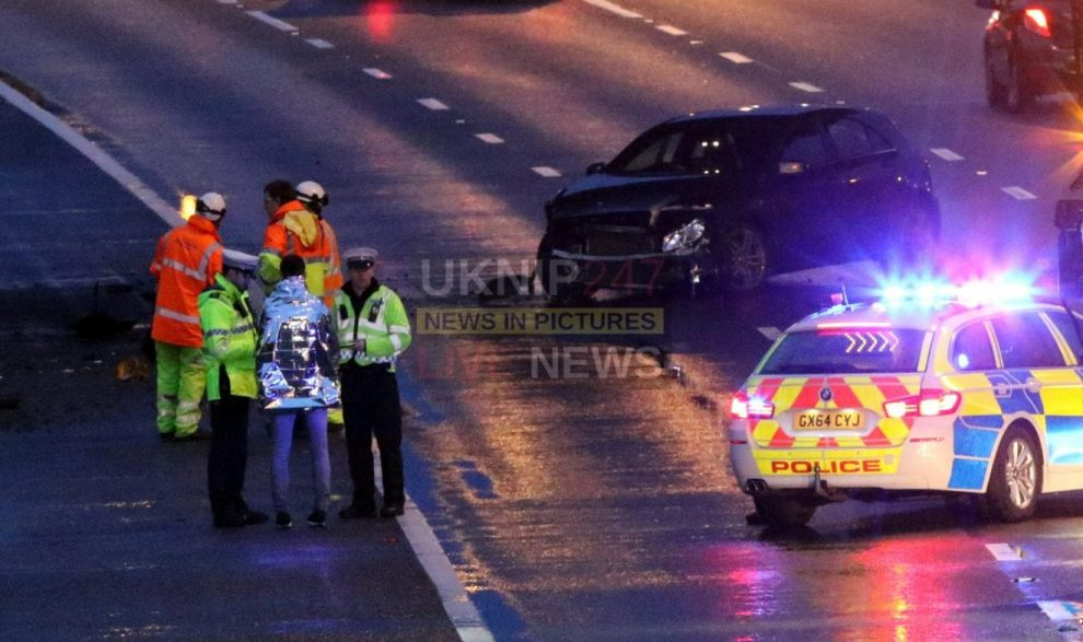 two lanes closed on the m25 near chertsey after vehicle aquaplanes and ploughs into barriers