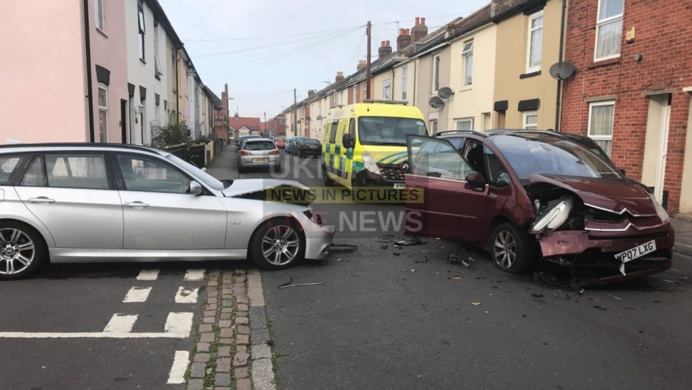 two people taken to hospital following collision in gosport