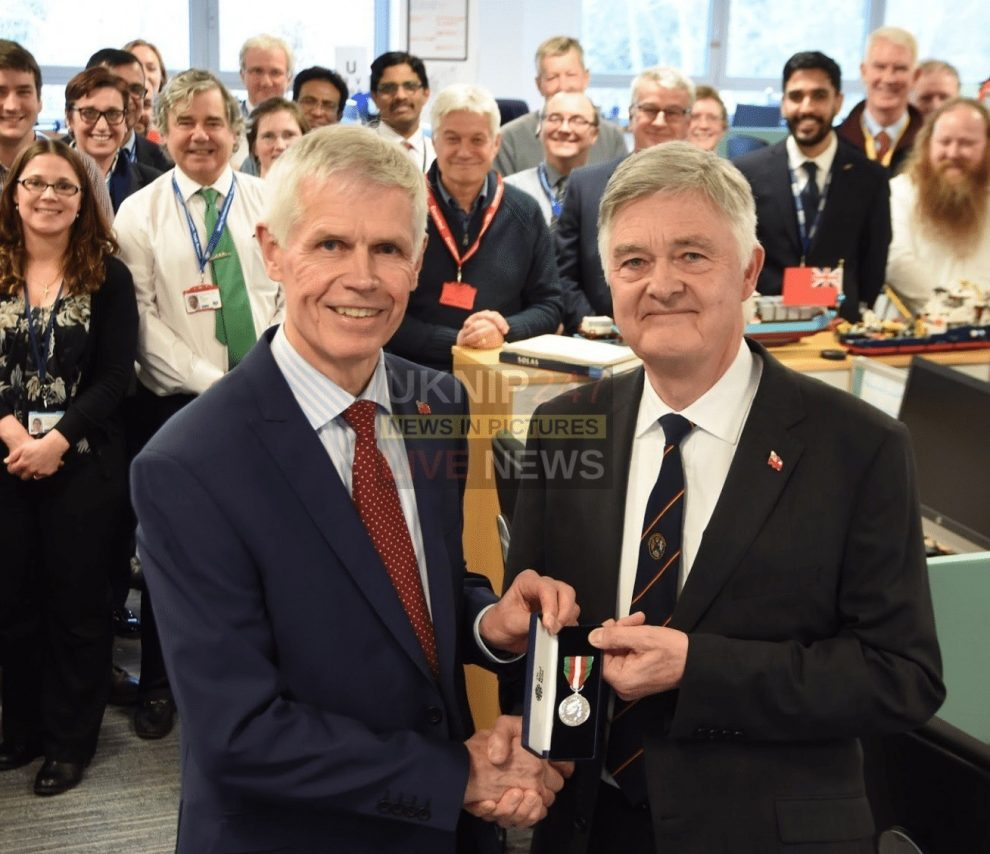 a career devoted to maritime and ship safety has been honoured with the merchant navy medal