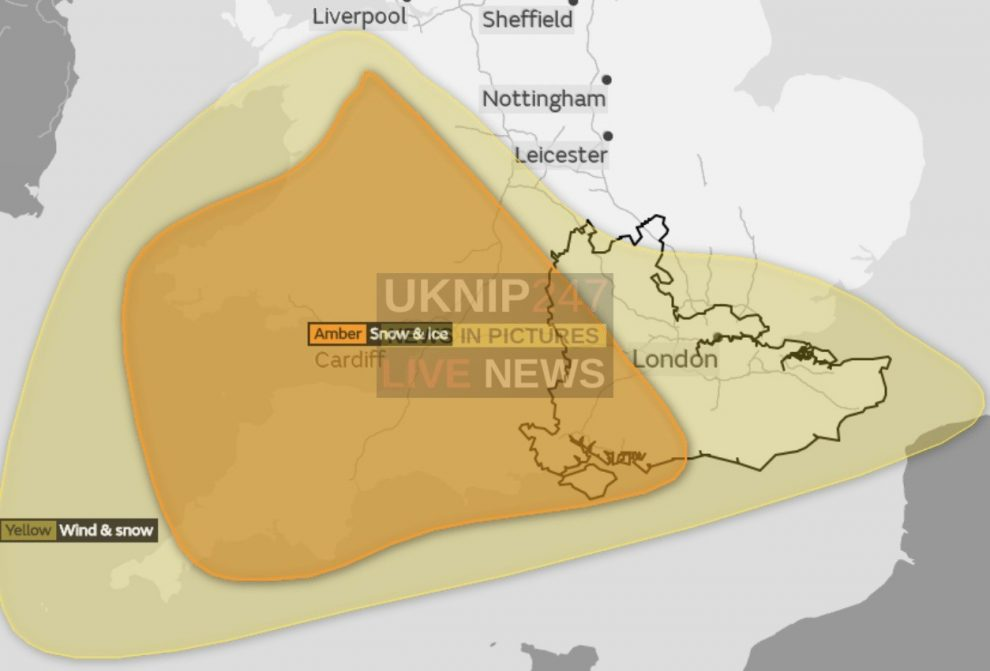 snow and ice warning issued for the south coast