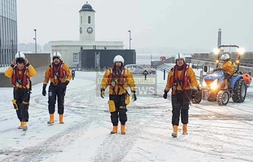 person in the sea in extreme weather conditions prompts rescue operation off margate