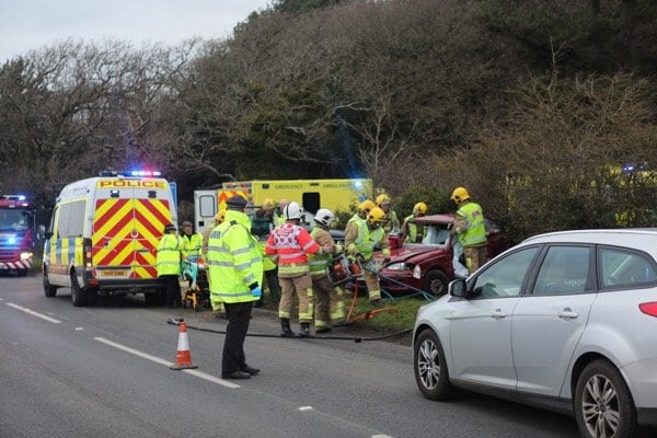 two vehicle collision blocks biddlesford road in newport