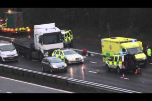 a woman has died after being found on the carriageway on the m27